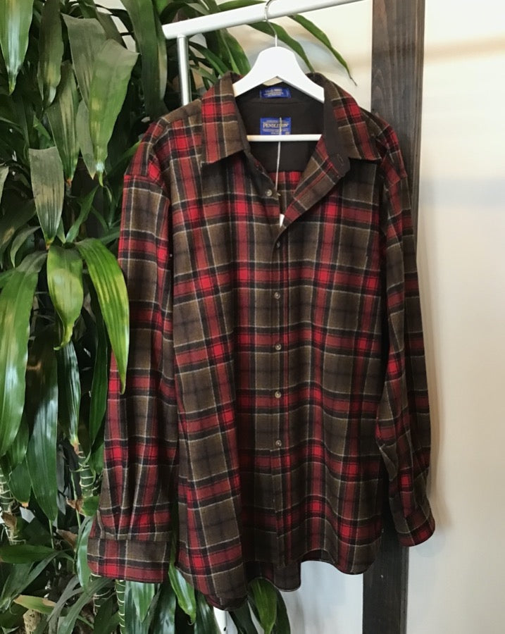 Red and Brown Plaid Pendleton