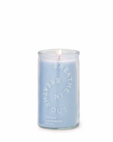 "SPARK 5 OZ SKY BLUE ""BREATHE IN, BREATHE OUT"" PRAYER CANDLE - VETIVER CARDAMOM - SISTER LB"