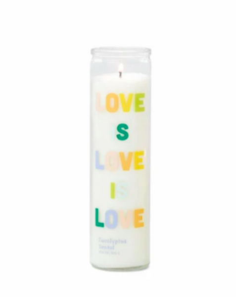 "SPARK 10.6 OZ RAINBOW ""LOVE IS LOVE IS LOVE"" PRAYER CANDLE / LOVE - EUCALYPTUS SANTAL - SISTER LB"