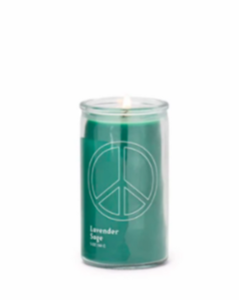 "SPARK 5 OZ FOREST GREEN ""PEACE"" PRAYER CANDLE - LAVENDER SAGE - SISTER LB"