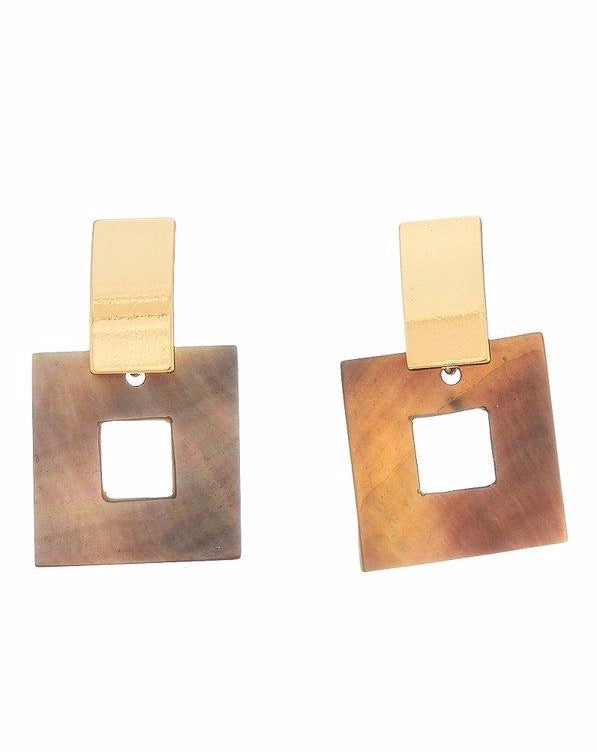 Square Drop Stud Earrings