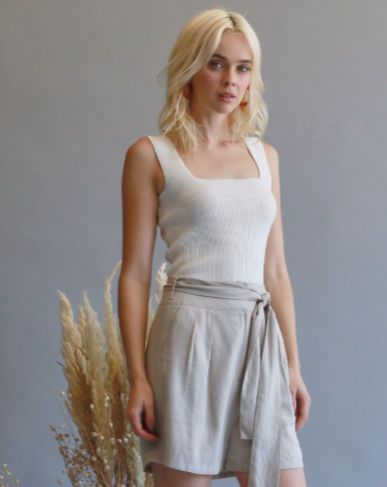 Ivory Square Neck Ribbed Tank