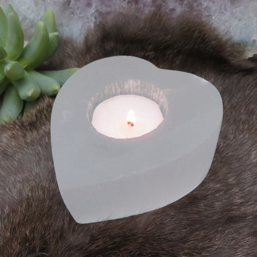 Selenite heart candle holder - SISTER LB