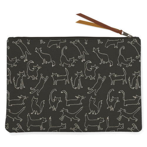 FUNNY CAT MED CANVAS POUCH - SISTER LB