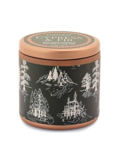 CYPRESS & FIR 3 OZ COPPER TIN + GREEN LABEL WITH WHITE TOILE PATTERN
