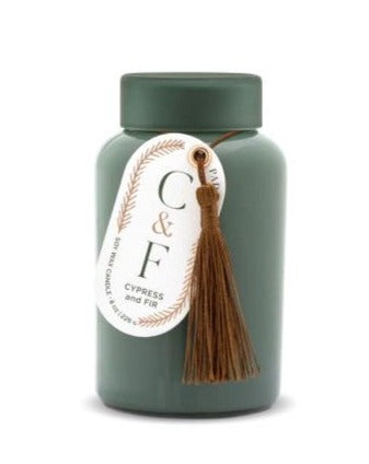 CYPRESS & FIR 8 OZ GREEN GLASS WITH DARK GREEN FROSTED GLASS LID + COPPER TASSEL HANGTAG