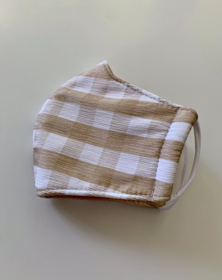 Tan Gingham Print Face Mask