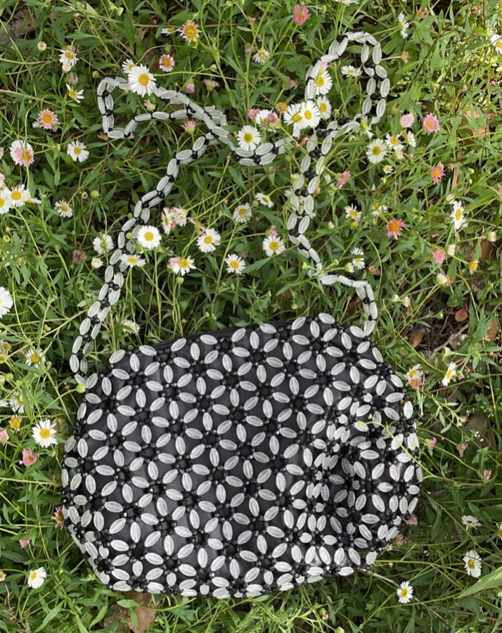 Vintage Black & White Beaded Bag