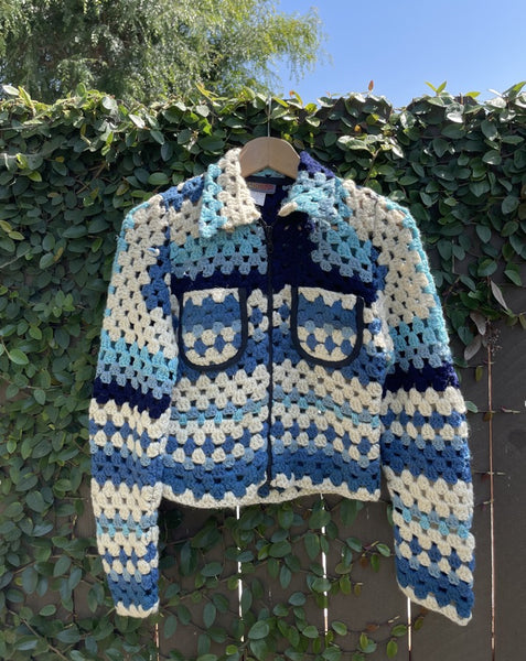 Vintage Blue Crochet Jacket