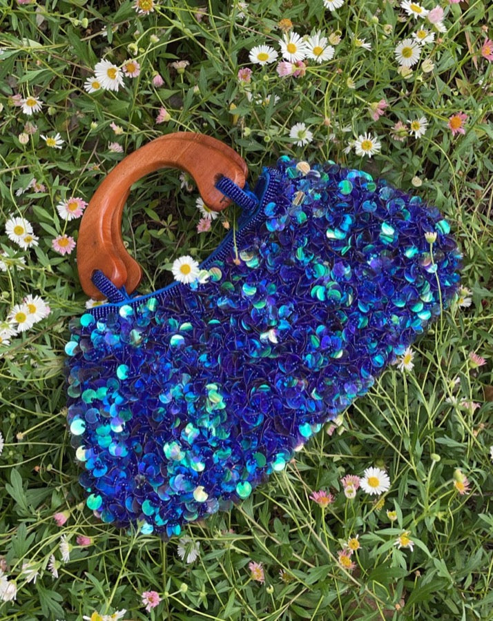 Vintage Blue Sequin Bag