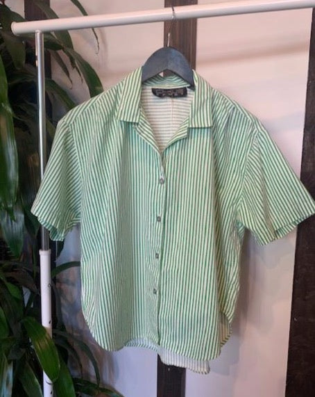 Vintage Kelly Green Striped Button Up