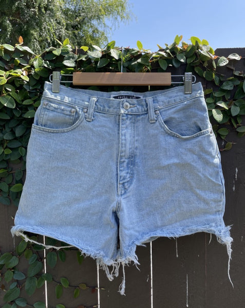 Vintage Light Wash Anchor Blue Denim Shorts