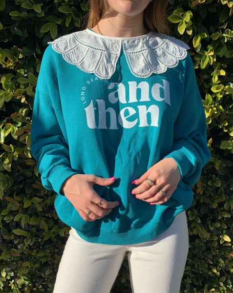 Teal Vintage And Then LB Crewneck Sweatshirt