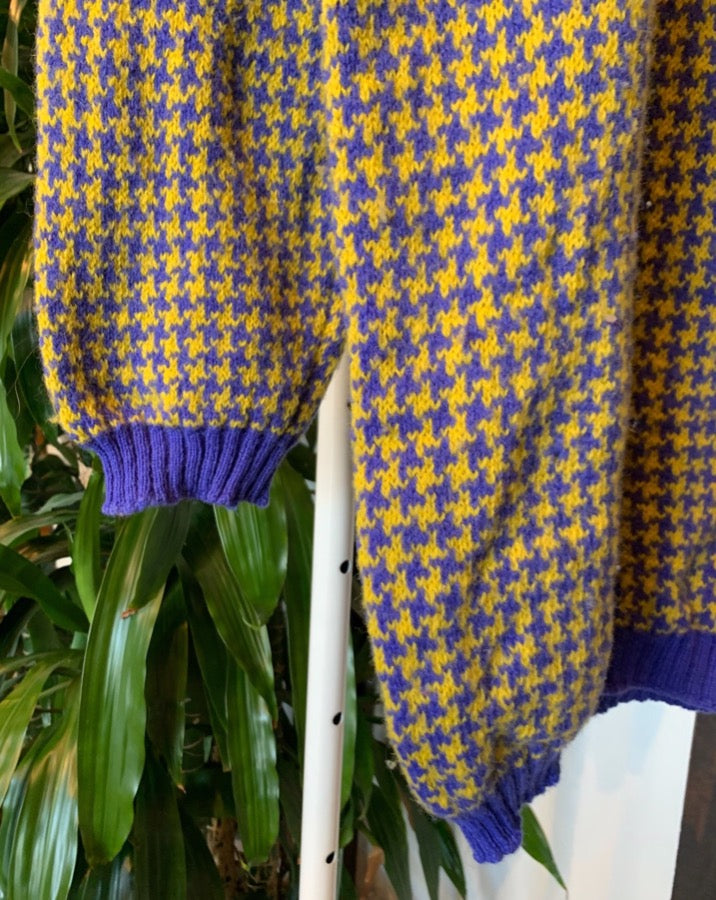 Vintage Blue Yellow Houndstooth Sweater
