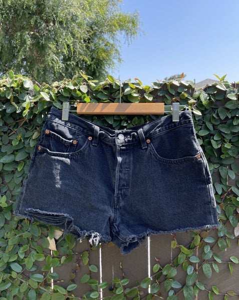 Vintage Washed Black Levi's Denim Shorts