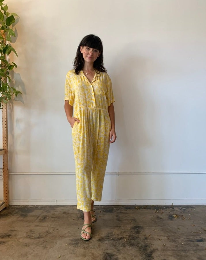Vintage Yellow Floral Jumpsuit