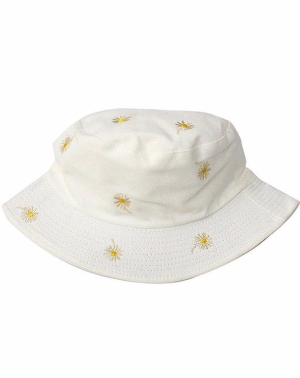 White Daisy Embroidered Bucket Hat
