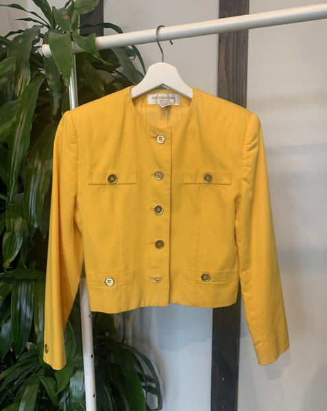 Vintage Cropped Yellow Blazer