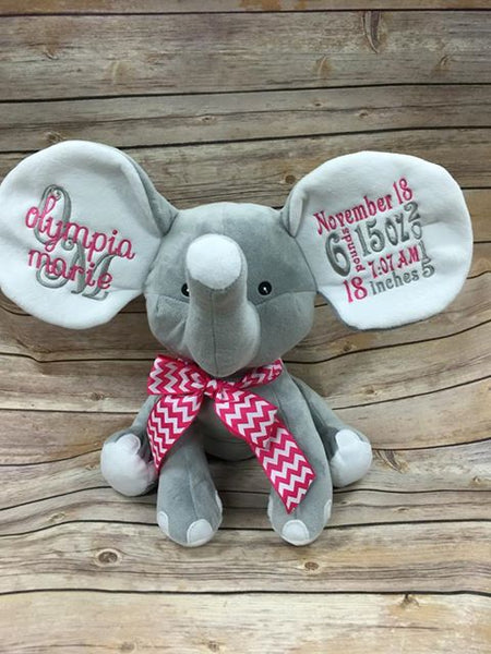 stuffed elephant birth announcement embroidery by teresa
