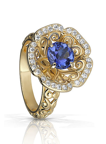 Filigree Flower Tanzanite Ring