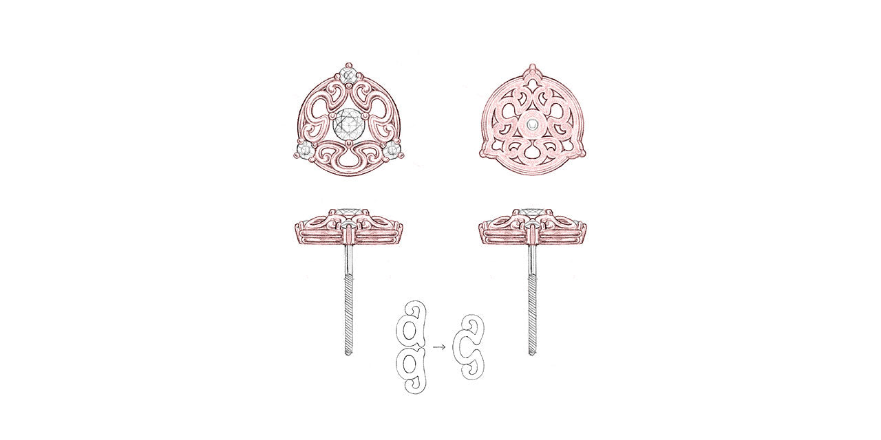 Drawings of rose gold and diamond bridal stud earrings, featuring an a/g initials symbol that creates a unique filigree pattern.