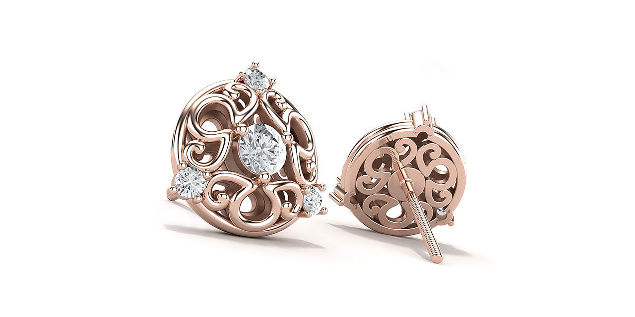 Front and back view of rose gold and diamond bridal stud earrings, featuring an a/g initials symbol that creates a unique filigree pattern