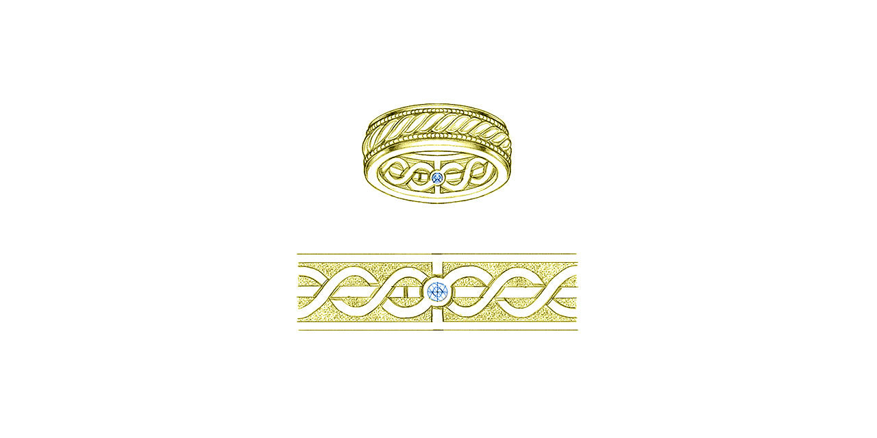 A drawing of a yellow gold mens wedding band with a cord of three strands design on the inside and outside.