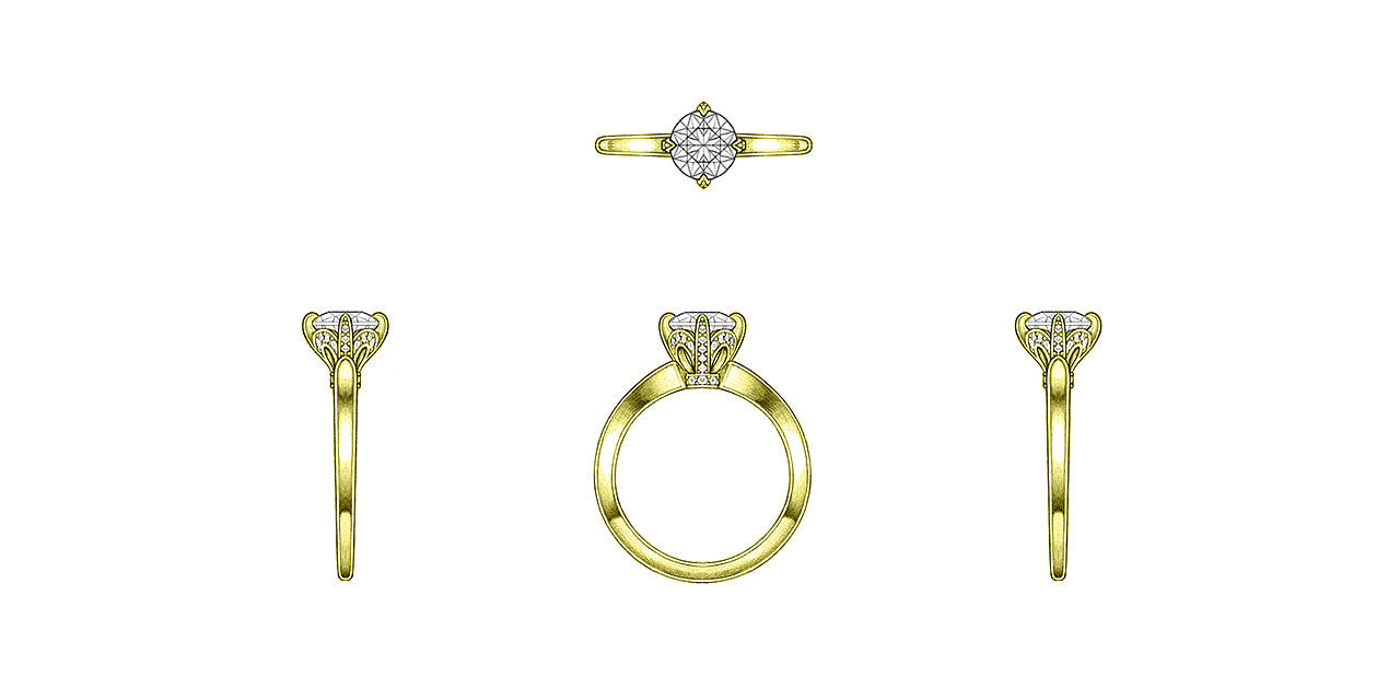 Drawings of a solitaire engagement ring with diamonds set in the prongs.