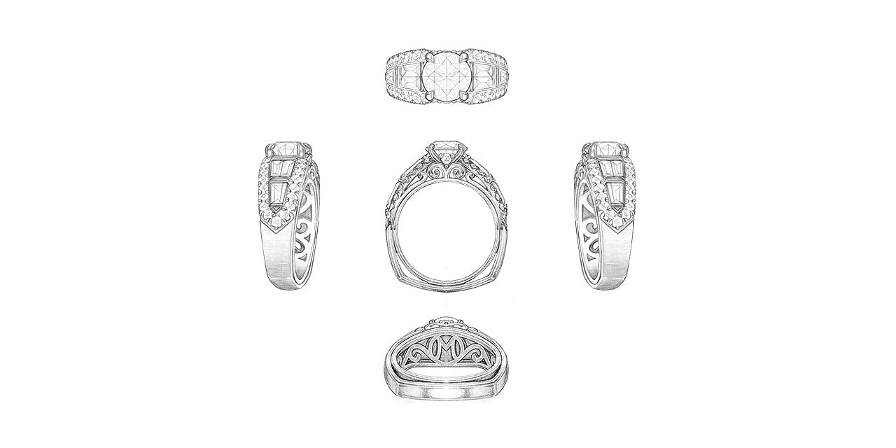 Drawings of a platinum and diamond wide wedding ring with a round center diamond and a baguette diamond band bordered by round diamonds. A script initial M is in the undergallery.