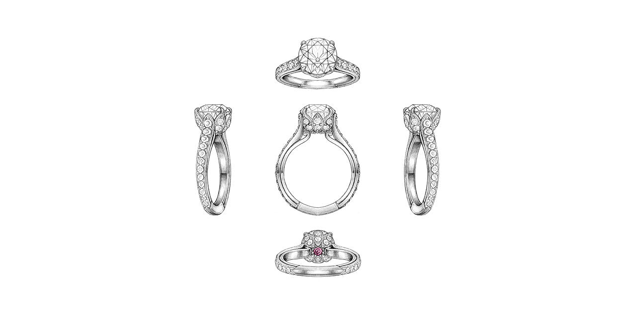 Drawings of a platinum and diamond lotus flower engagement ring with a garnet birthstone set underneath the center diamond.