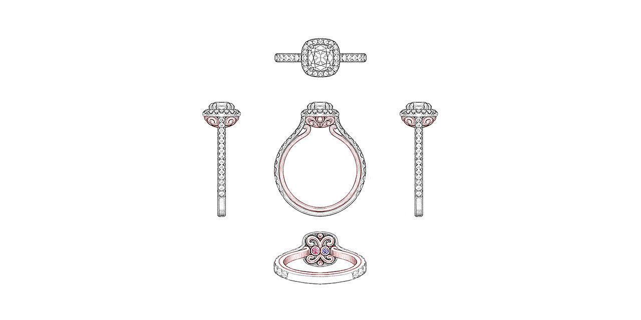 Drawings of an open scroll two-tone engagement ring with diamonds and birthstones