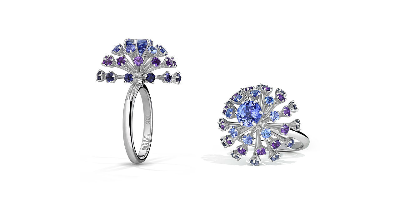 A top view and through view of a Tanzanite ring made to look like a spark or firework