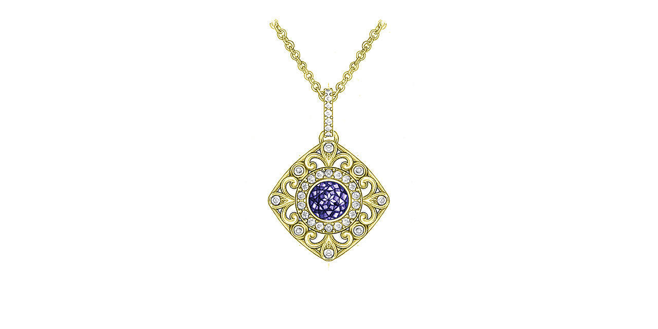 A drawing of a yellow gold Tanzanite pendant with a soft square shape and filigree and diamond details.