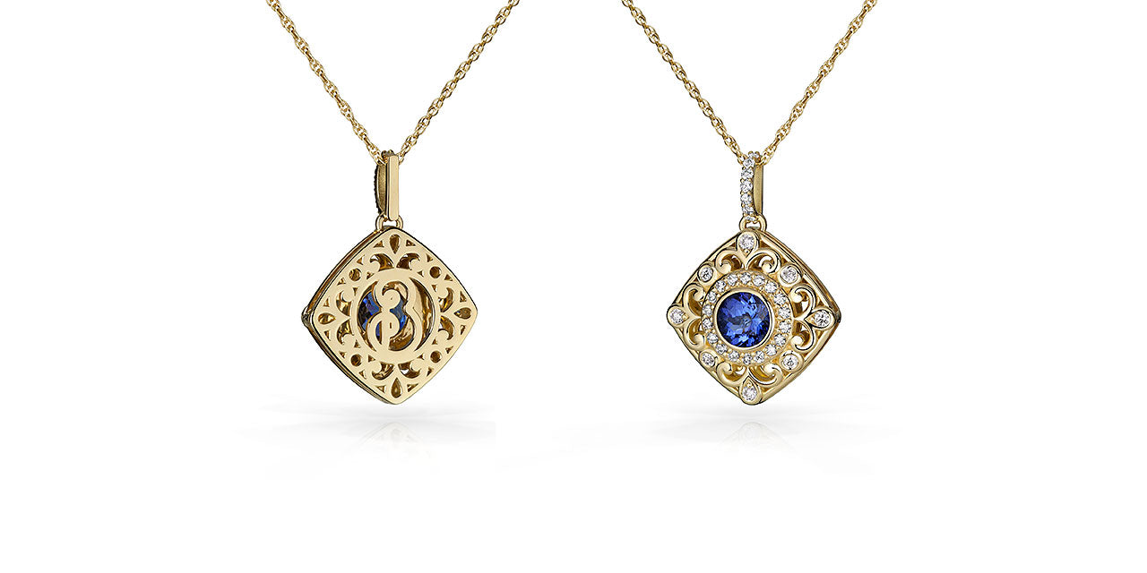 Back and front pictures of a yellow gold Tanzanite pendant with a soft square shape and filigree and diamond details.