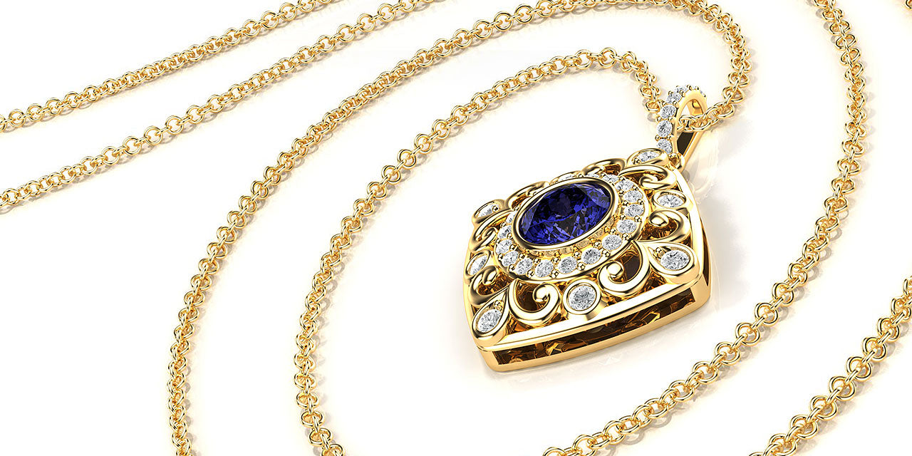 A perspective rendering of a yellow gold Tanzanite pendant with a soft square shape and filigree and diamond details.
