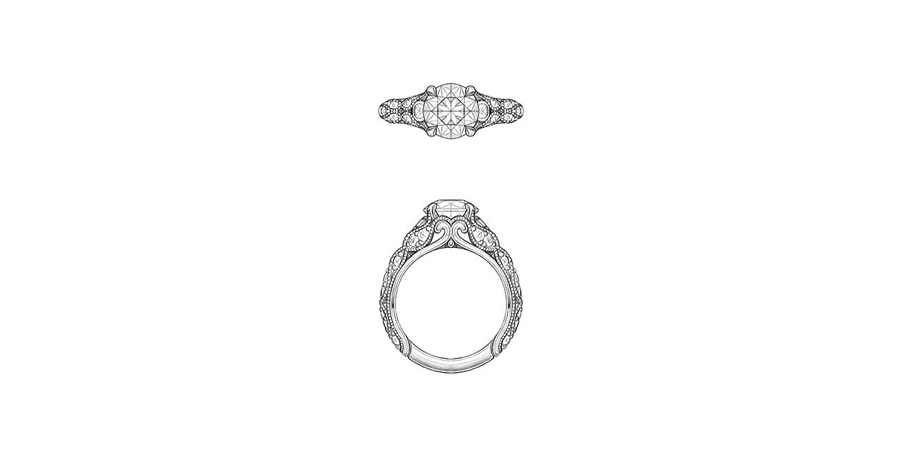 Drawings of a vintage style diamond engagement ring with leaf and petal inspired shapes forming the sides of the ring.