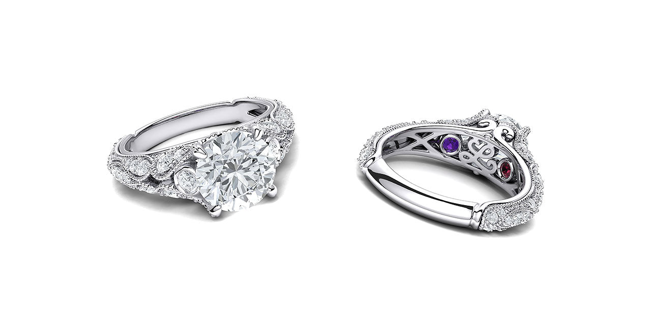 Top and underneath views of a vintage style diamond engagement ring with leaf and petal inspired shapes forming the sides of the ring, with surprise birthstones underneath.