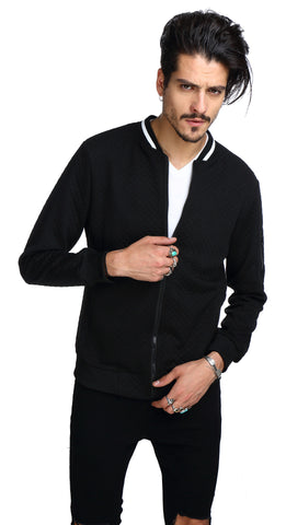 B151-Black Casual Solid Zip Up Elastic Sleeve Slim Jacket With Pockets