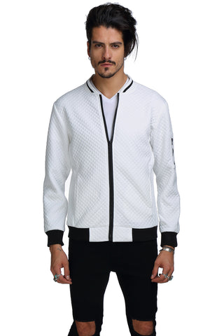 B151-White Casual Solid Zip Up Elastic Sleeve Slim Jacket With Pockets