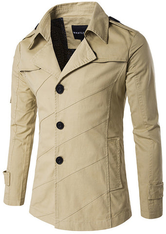 B275 Mens Solid Button Down V-Neck Outwear Coat With Pockets