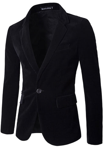 B293 Mens Casual One Button Slim Fit Corduroy Blazer Suit Outwear