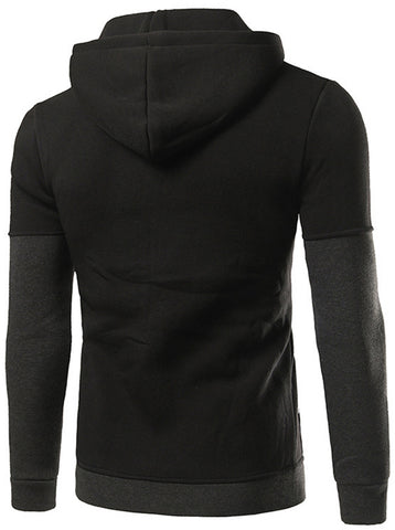 B295 Mens Casual Contrast Split Zip Up Hoodies Coat
