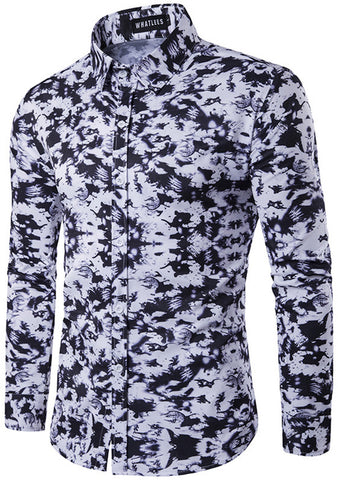 B318 Mens Hipster Long Sleeve Camouflage Print Slim Fit Club Party