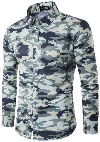 B319 Mens Hipster Long Sleeve Camouflage Print Slim Fit Club Party