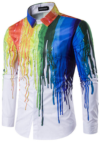 B320-01 Mens Hipster Long Sleeve Paint Splatter Print Slim Fit Club Party