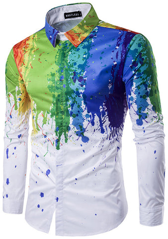 B320-02 Mens Hipster Long Sleeve Paint Splatter Print Slim Fit Club Party