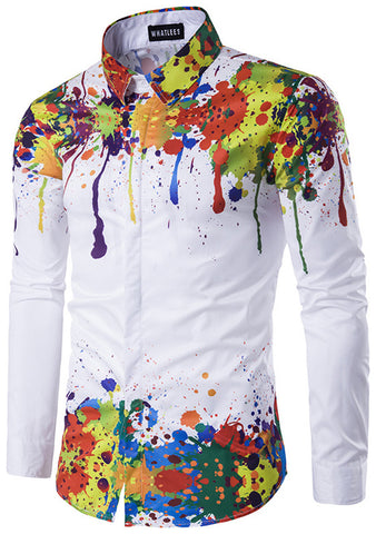 B320-03 Mens Hipster Long Sleeve Paint Splatter Print Slim Fit Club Party
