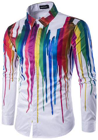 B320-04 Mens Hipster Long Sleeve Paint Splatter Print Slim Fit Club Party