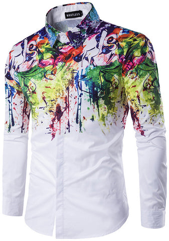 B320-05 Mens Hipster Long Sleeve Paint Splatter Print Slim Fit Club Party
