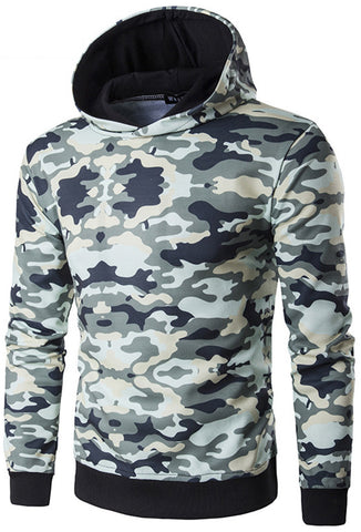 B332 Unisex Long Sleeve Camouflage Print Slim Fit Sport Pullover Sweatshirts